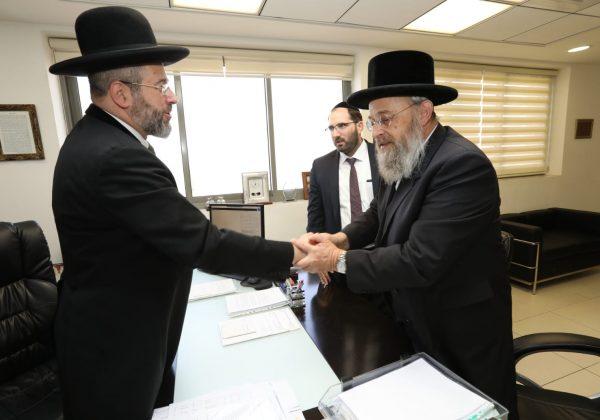 """הרב הגאון רבי דוד לאו שליט""""א בפגישה עם יו""""ר בוני עולם הרב שלמה בוכנר"""